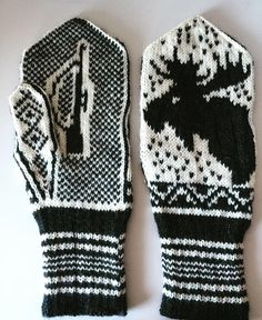 Moose mittens Knitted Mittens Pattern, Knit Mittens, Knitting Socks, Knitting Patterns, Crochet Patterns, Fair Isle Knitting, Arm Warmers, Knit Crochet, Cross Stitch