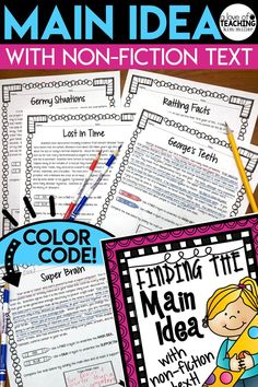 Get 20 different non-fiction reading passages for students to use while they practice finding the main idea and supporting details. These high interest and engaging non-fiction topics make learning about main idea fun and interesting for students!  It is the perfect resource for beginners just starting to learn how to find the main idea and supporting details of a non-fiction reading passage. RI.4.2
