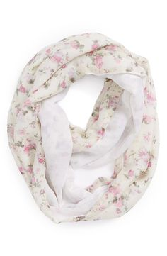 A pretty pink floral infinity scarf for cooler nights.