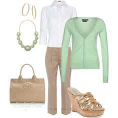 Casual Summer office look by lovelyingreen on Polyvore