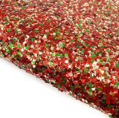 Perfect Christmas Chunky Glitter Fabric Mini Rolls, Glitter Fabric, Craft Shop, Craft Supplies, Polka Dots, Bows, Colours, A4, Christmas