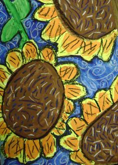 sunflower paintings inspired by van gogh, tempera outlined with oil pastel