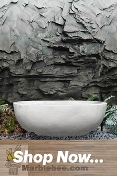 White color bathtub natural stone