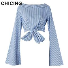 CHICING Women Fashion Slash Short Bow Neck Striped Flare Sleeves Blouse 2017 Streetwear Ladies Shirt Blusa A1703013 - On Trends Avenue