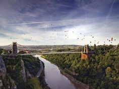 Clifton suspension bridge with balloons. So Bristol. Things to do in Bristol Bristol City, Bristol England, England Uk, European City Breaks, Suspension Bridge, Great Britain, Wonders Of The World, Places To See, Beautiful Places