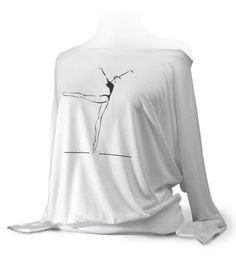 "Flowy Long Sleeve Ballet Top ""Piqué to Arabesque"" - White. This is a very fashionable soft knit top for ballet, jazz, and tap dancers."