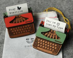 Super cute! Typewriter brooches. Designed, laser cut and assembled by hand by bRainbow