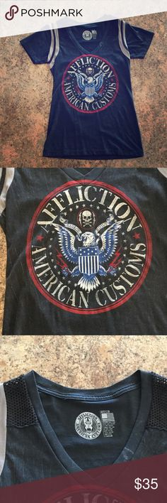 Affliction Shirt NWOT Black affliction American Customs  T-shirt, blue American Eagle. Size Medium, never worn. Any questions let me know! Affliction Tops Tees - Short Sleeve