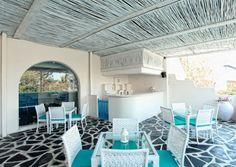 turqoise element Mediterranean style restaurant interior