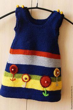 """Купить Сарафан для девочки """"Цветочки"""" - тёмно-синий, в полоску, детская одежда, одежда для детей"""