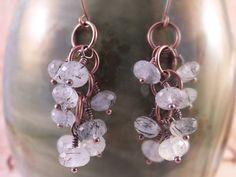 Rutilated quartz beaded cluster earrings- 1'3/4 inches long- http://www.etsy.com/shop/BirdandBeed?ref=si_shop