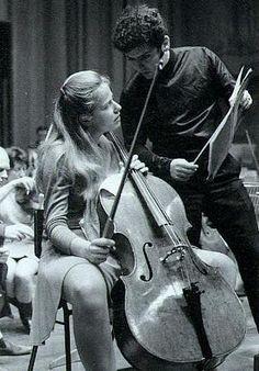 Jacqueline du Pré (1945-1987) with husband Daniel Barenboim and the Davydov Stradivarius violoncello, ca. 1975.