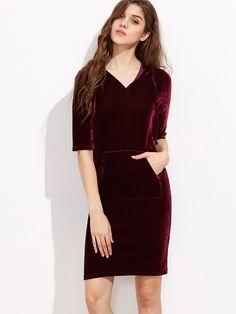 Shop Burgundy Half Sleeve Pocket Front Velvet Hoodie Dress online. SheIn offers Burgundy Half Sleeve Pocket Front Velvet Hoodie Dress & more to fit your fashionable needs.