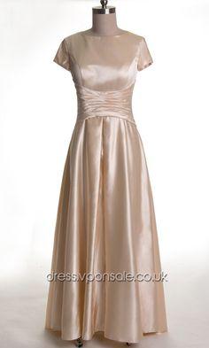 Short Sleeved Long Satin Mother Of Bride Dress VPM28