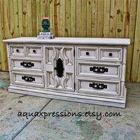 Heirloom White Vintage Dresser/ Buffet/ Bedroom Furniture/ Distressed /Vintage Drawer Pulls/ TV Stand/ Storage/ Dining Room Furniture