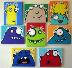 Kids Monster Art 16 X 20 Canvas Painting Set Of 4 By KitsyCo 15000