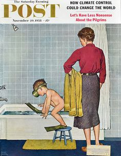 "1958 ""Scuba in the Tub"" - Boy Taking a Bath in Flippers & Snorkel Mask - Vintage Saturday Evening Post Cover - Amos Sewell Art Norman Rockwell Art, Norman Rockwell Paintings, Magazine Illustration, Fun Illustration, Vintage Magazines, Vintage Ads, Dove Drawing, Saturday Evening Post, Arte Pop"
