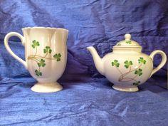 Shamrock Tea Pot and Cup Nantucket Home  #NantucketHome