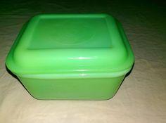 "Fire King Jadeite Philbe Jade Refrigerator Jar with Lid 5"" Mint 1937-38 Jade-it  | eBay"