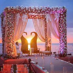 35 Unique and Trending Mandap Decoration Ideas Marriage Decoration, Wedding Stage Decorations, Decoration Table, Wedding Themes, Wedding Centerpieces, Beach Decorations, Wedding Mandap, Desi Wedding, Wedding Venues