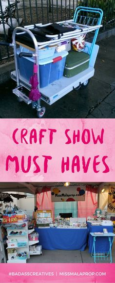 Craft Show MUST HAVES! Make More Money at Craft Fairs! Don't waste time like I did. Learn from my 10 years of craft fair experience. My craft show tool kit has evolved a lot over the years, and now there are a few handy items I can't live without bringi Craft Fair Displays, Craft Show Booths, Craft Show Ideas, Craft Show Booth Display Ideas Layout, Jewelry Displays, Craft Fair Ideas To Sell, Craft Show Table, Craft Fair Table, Market Displays
