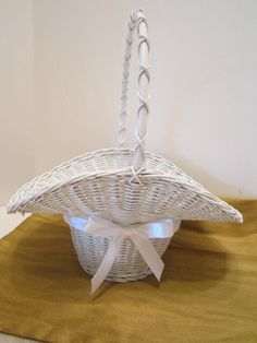 SOLD - Flower Girl Baskets  Vintage White Woven Wicker by VKVDesigns