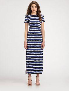 MICHAEL MICHAEL KORS - Striped Crewneck Maxi Dress - Saks.com