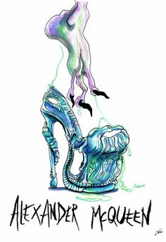SHOE ILLUSTRATION :: Alexander McQueen - Wacky Fashion Shoe Illustrations by Achraf Amiri