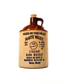 1974 Platte Valley Corn Whiskey Jar Ceramic 1/2 Gallon Whiskey Jug Aged in the Hills