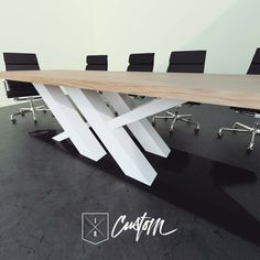 Modern Industrial Office x Cantilevered Conference Table. Let us Design + Fabricate your one of kind piece for your business! IndustrialReclaim.com