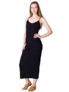 American Apparel The Long Spaghetti Tank Dress Medium Black