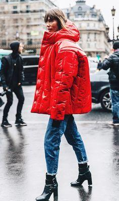 Red rainy day jacket.