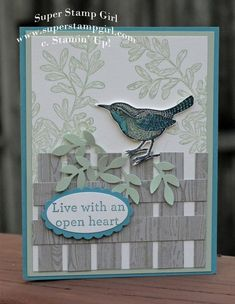 """Today's card was inspired by the beautiful and serene color challenge at The Paper Players . I have been """"on the fence"""" about this stamp set called """" An Open Heart . Diy Butterfly, Bird Cards, Paper Hearts, Heart Cards, Stamping Up, Cool Cards, Stampin Up Cards, Making Ideas, Holiday Cards"""