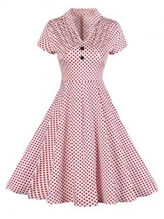 GET $50 NOW | Join RoseGal: Get YOUR $50 NOW!http://www.rosegal.com/vintage-dresses/vintage-buttoned-polka-dot-pin-1086741.html?seid=ncn4gp50i5h85a6co111879m82rg1086741