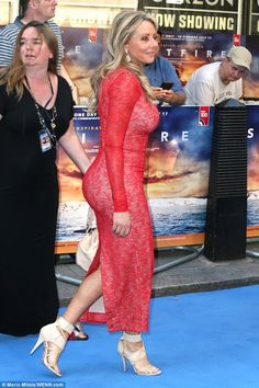Carol Vorderman flaunts her curves in red lace gown at Spitfire bash Beautiful Old Woman, Gorgeous Women, Stunningly Beautiful, Sexy Older Women, Sexy Women, Carol Vordeman, Red Lace Gown, Bollywood, Tight Dresses