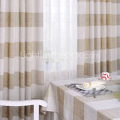 Country Check Linen/Cotton Energy Saving Curtain