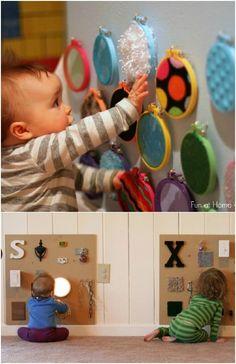 Diy Sensory Toys For Babies, Baby Sensory Board, Baby Sensory Play, Baby Play, Sensory Boards, Diy Toys For Toddlers, Sensory Wall, Baby Boy Toys, Toddler Toys