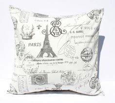 French Postmarks, Monograms & all things Paris :: decorative pillow cover by Sew Gracious, #premierprints