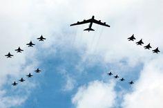 B-52 Photo Op over the USS Kitty Hawk