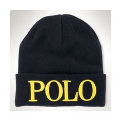 "Ralph Lauren ""Polo"" Knit Beanie (115 NOK) ❤ liked on Polyvore featuring accessories, hats, polo black, embroidered hats, embroidered beanie hats, knit beanie caps, logo beanie hats and beanie cap hat"