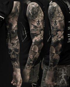 Badass tattoo by neon judas. Army Wife Tattoos, Warrior Tattoos, Military Tattoos, Badass Tattoos, Viking Tattoos, Tattoos For Guys, Norse Tattoo, Full Sleeve Tattoos, Tattoo Sleeve Designs