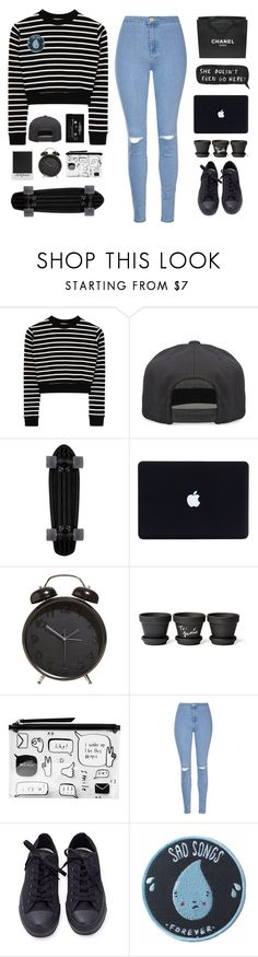 """cash me outside"" by itstepna ❤ liked on Polyvore featuring Alex and Chloe, Chanel, Polaroid, Monki, Glamorous, Converse, Stay Home Club, StreetStyle, black and MyStyle"