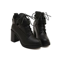 SheIn(sheinside) Black Lace-Up Buckle Chunky Boots (115 BRL) ❤ liked on Polyvore featuring shoes, boots, ankle booties, clothes - shoes, black, black laced booties, lace up high heel boots, black booties, black high heel boots and black lace up booties
