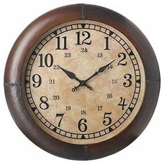Round Leather Club Wall Clock, 40cm Parlane International…