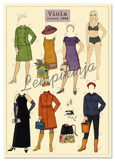 Lempikirja produces a family of paper dolls, drawing inspiration from the fashions of the past few decades. Fools Fall In Love, Barbie Paper Dolls, Paper Dolls Printable, Movie Costumes, Print And Cut, Doll Clothes, Vintage Fashion, Making Dolls, Crafts