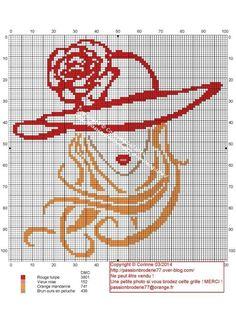 point de croix  femme blonde au chapeau- cross-stitch woman with hat