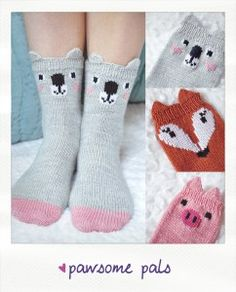 pawsome pals koala fox pig animal socks knitting pattern