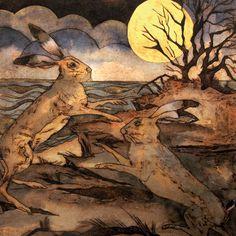 as gold moon rosethe joust began covehithe - collagraph handmade print with watercolour Rabbit Life, Rabbit Art, Collagraph, Bunny Art, Moon Rise, Beautiful Creatures, Pet Birds, Printmaking, Wildlife