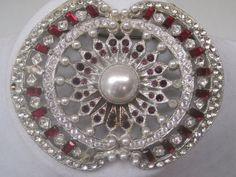 rooch/Pin/Jewelry/Jewellry/1920's-1930's/Art Deco/Clear And Ruby Colored Rhinestones/Center Pearl/Statement Piece/Priced To Sell
