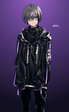 Anime boy grey hair and dark Hot Anime Boy, Dark Anime Guys, Cool Anime Guys, Anime Demon Boy, Anime Oc, Kawaii Anime, Manga Anime, Anime Style, Boys Lindos